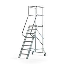 Pojízdný plošinový žebřík, 8 příček, výška 1600 mm