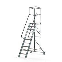 Pojízdný plošinový žebřík, 10 příček, výška 2000 mm