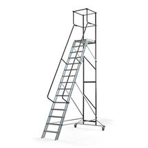 Pojízdný plošinový žebřík, 15 příček, výška 3000 mm